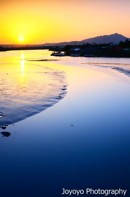 日落 基隆河與外雙溪交匯處