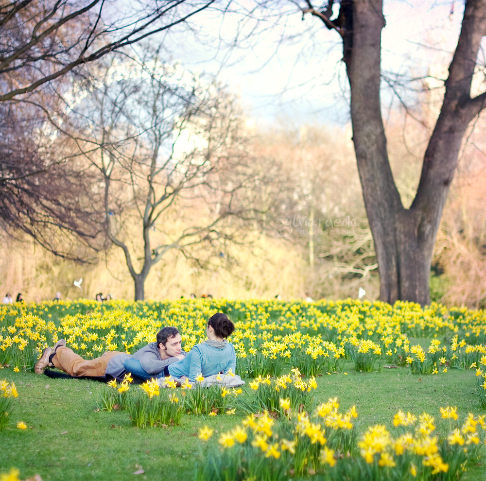 In a Daffodils field, on a sunny day, with the one you love.
