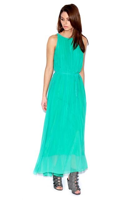 Green Pleated Sleeveless Maxi Dress