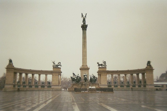 Budapest, city, streets, tour, trip, journey, Hungary,  snow, winter, spring, 35mm film photography,  Kodak MAX 400 expired, monument, sculpture, budapest heroes square