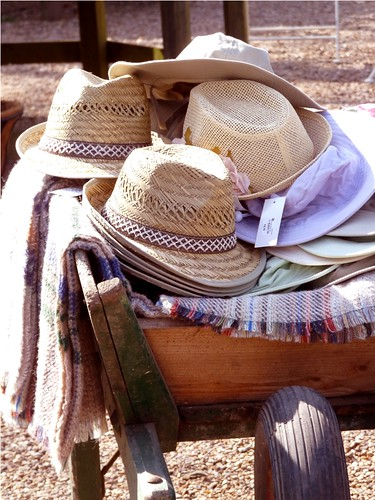 Hats in a wheelbarrow by PhotoPuddle