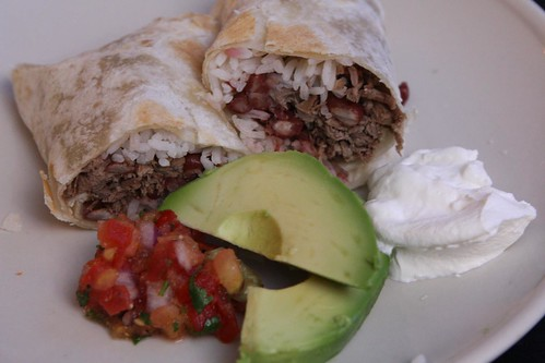 Pulled Pork Burrito with Beans and Rice, Salsa Fresca, Avocado, and Sour Cream