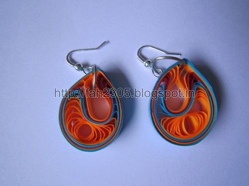 Handmade Jewelry -  Paper Teardrops Earrings(Jaali - Blue and Orange) (1) by fah2305