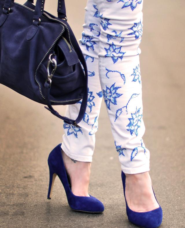new Floral print jeans DIY -  blue  pumps and bag