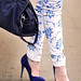 new Floral print jeans DIY -  blue  pumps and bag