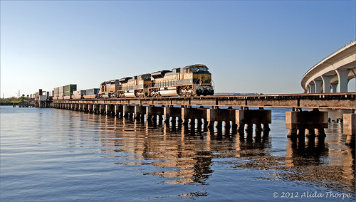 freight train over water by Alida's Photos