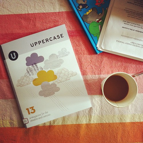 the things on my table. uppercase (I'm in it!), babar's ABC's, my workshop notes, and beloved coffee. thanks to @uppercase ! so honored to be in lucky 13!