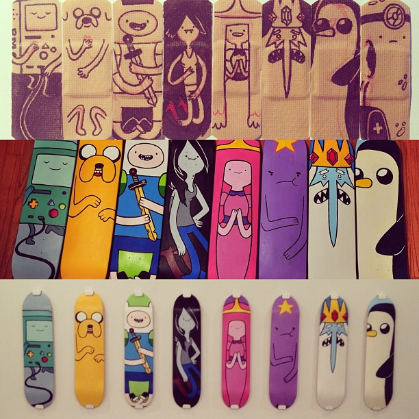 my Adventure Time character skateboards