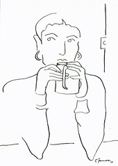Cup of Thought, a drawing of a woman drinking from a mug