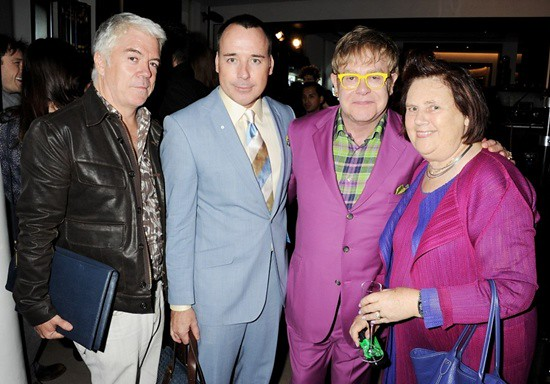 6 Tim Blanks, David Furnish, Sir Elton John and Suzy Menkes at the Burberry event in Knightsbridge London