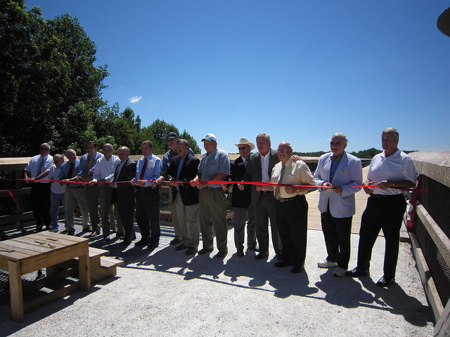 Ribbon Cutting to signify the opening of the bridge.