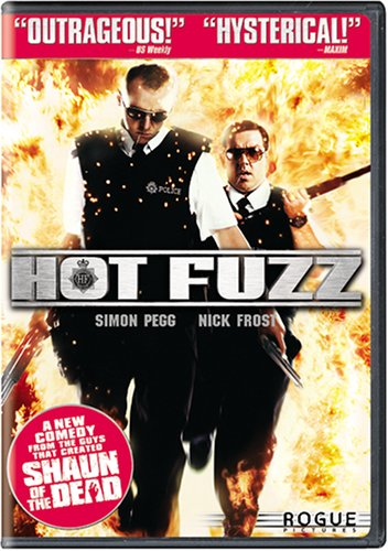 Hot Fuzz DVD cover with unprofessional police running away from fire ball