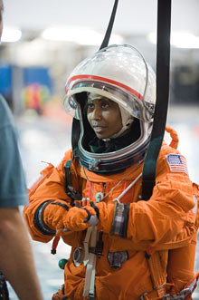 NASA Astronaut Stephanie Wilson prepares for Water Survival Training at NASA's Neutral Buoyancy Laboratory