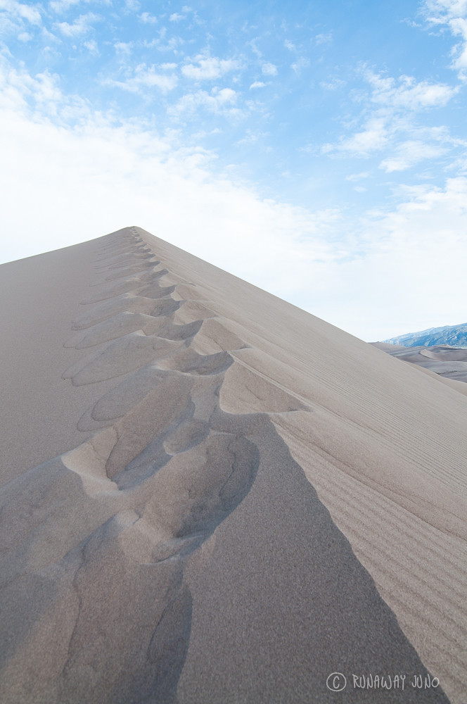 Walking along the ridge of the great sand dunes