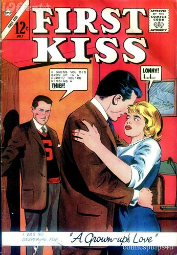 Antique Comic Book Cover First Kiss