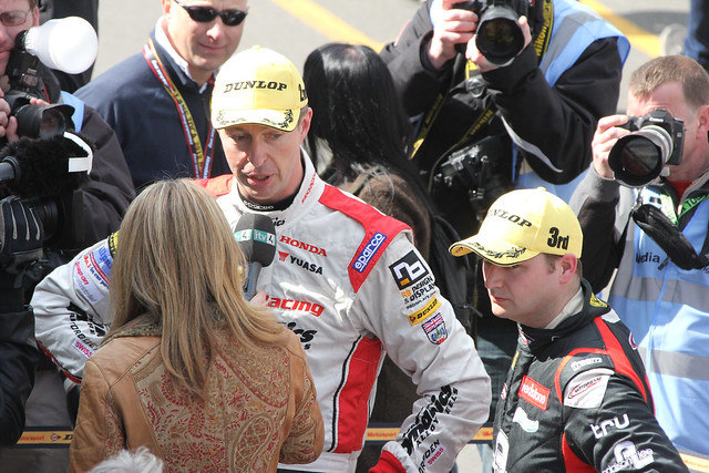 ITV's Louise Goodman interviews Matt Neal after his second place in BTCC at Donington Park in April 2012