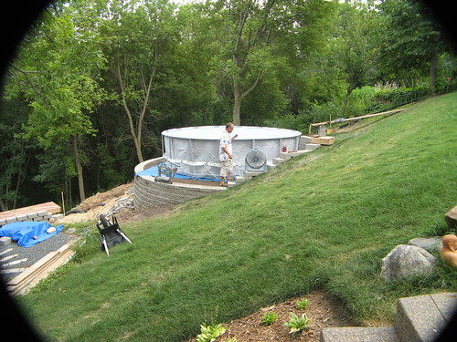 Newbie agp install on steep slope mn for Pool design on a slope