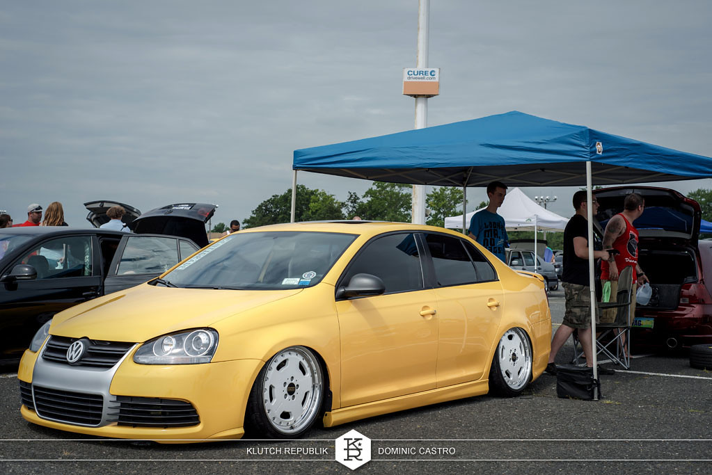 yellow mk5 vw jetta lexus wheels  at waterfest 18 2012 3pc wheels static airride low slammed coilovers stance stanced hellaflush poke tuck negative postive camber fitment fitted tire stretch laid out hard parked seen on klutch republik