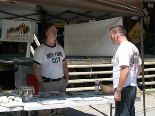 Member Jeff Hampton discussing the Renew East Kentucky campaign and Owen Electric Members' Bill of Rights with festival goers.