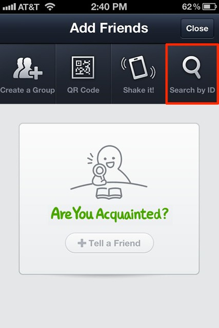 LINE - iPhone - Add Friends - Search by ID