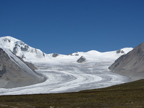 glacier at the five sacred peaks of the altai mountain range