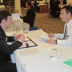 A student interviewing with a recruiter from Caterpillar Inc. --