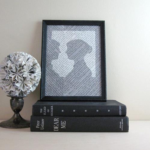 framed vintage book silhouette of Jane Austen