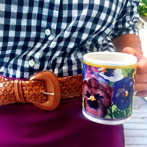 Coffee mug match day seven: purple and blue floral and gingham