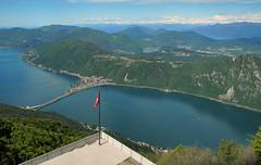 Lanzo d'Intelvi, Balcone d'Italia vista sul Lago di Lugano e la diga di Almeida e le Alpi - Maggio 2013