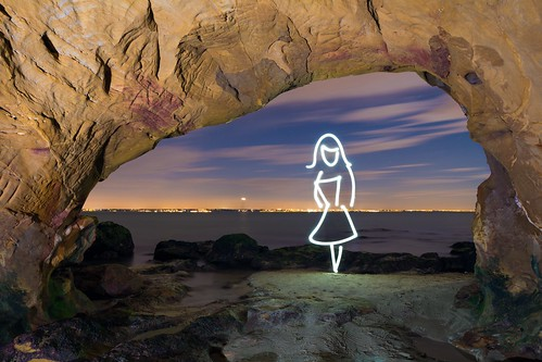 Story Arch (In Camera Light Painting), Studland Beach by flatworldsedge