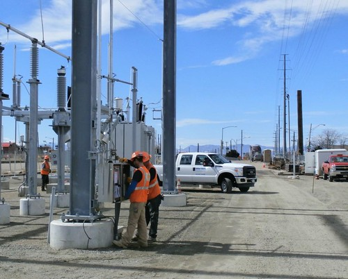 Photo of electrical work at the Sandown Substation March 13, 2014