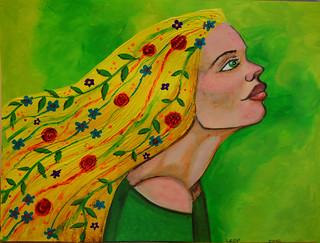 Week 22 Profile with Flowers in Hair