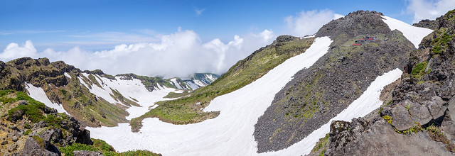 伝ってきた外輪山(左)、最高峰・新山と御室(右)
