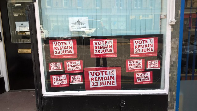 Labour remain posters in Labour Office, Stirling, EU Referendum, June 2016