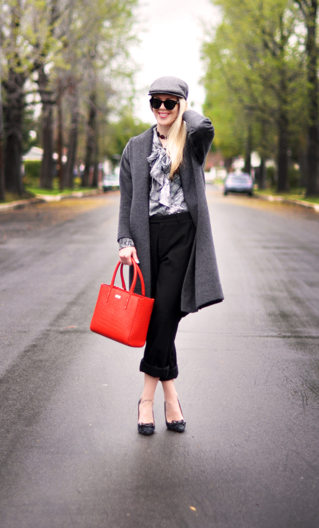 kate spade bag and shoes - vintage gray coat - cuffed pants