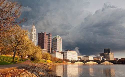 park bridge trees sunset sky storm bikepath hail clouds buildings spring downtown day cityscape cloudy columbusohio riverfront lightening levequetower huntingtoncenter broadstreetbridge flickrchallengewinner canonef1635mmf28liiusm canoneos5dmarkii ohiodepartmentofeducation thechallengefactory ultimategrind tcfwinner verneriffecenter ohiosupremecourtbuilding sciotorover