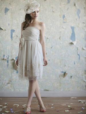 Vintage Off Shoulder Short Wedding Gown