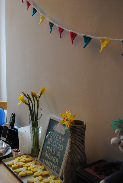Bunting and daffodils :)