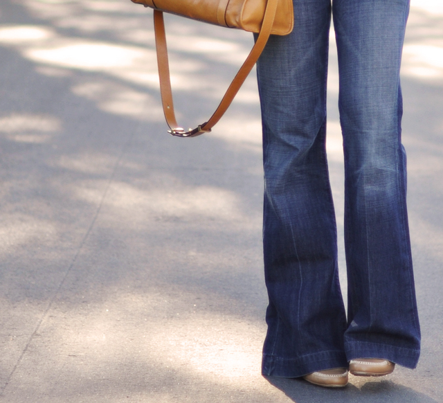wide leg flared jeans-camel loafers and bag