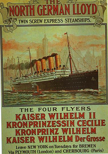 North German Lloyd The Fleet Promotion Poster 1906
