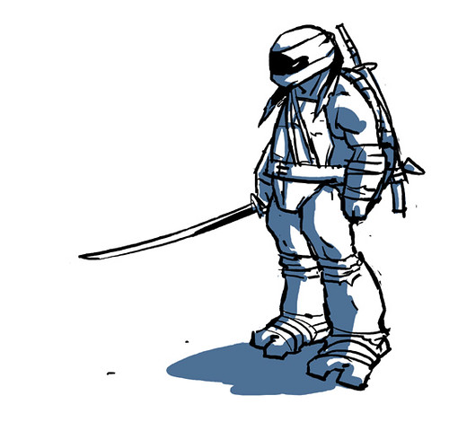 "IDW :: Teenage Mutant Ninja Turtles MICRO-SERIES #4; LEONARDO // ""LEO 6"" ..concept art by Ross Campbell (( 2012 ))"