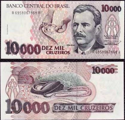 10 000 Cruzeiros Brazília 1992, Pick 233