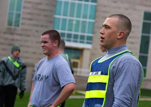 IU Kokomo ROTC cadets Aaron Pullen, left; and Brady James participate in physical training.