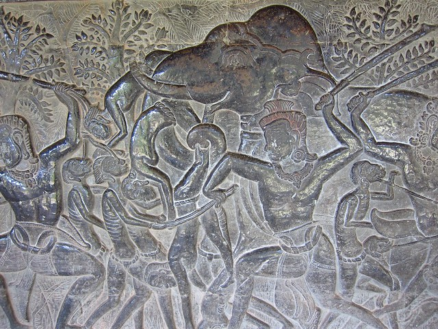 Elephant Eating a Man in Bas Relief