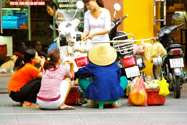 Vietnamese women vendors in Saigon