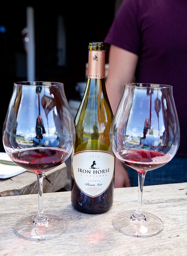 Glasses of Iron Horse Estate Pinot Noir 2010