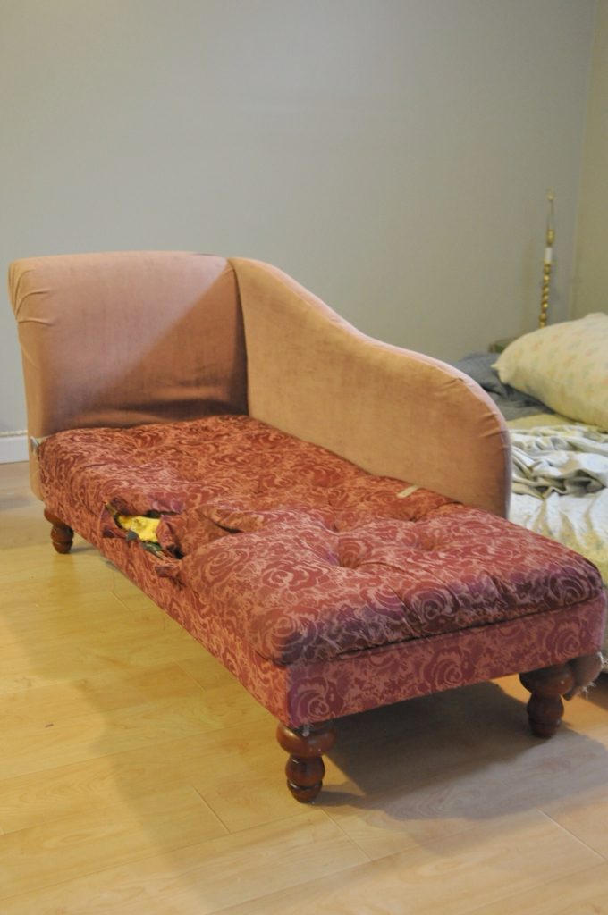 Drop Cloth Reupholstered Chaise Lounge : how to reupholster a chaise - Sectionals, Sofas & Couches