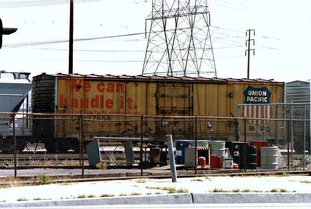 We can handle it.  Union Pacific Boxcar #72658 At Hobart Yard, Los Angeles