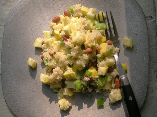 quinoa salad with pinto beans, squash, and green bell pepper