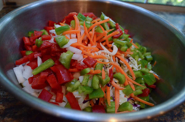 Vegetables together in a large mixing bowl.